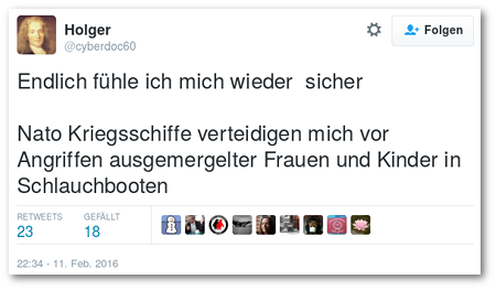 Tweet von @cyberdoc60: Endlich fühle ich mich wieder sicher -- Nato Kriegsschiffe verteidigen mich vor Angriffen ausgemergelter Frauen und Kinder in Schlauchbooten