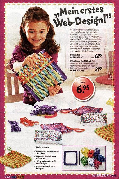 Werbung für einen Webstuhl für Kinder mit dem Text 'Mein erstes Web-Design'. Nur 6,95.