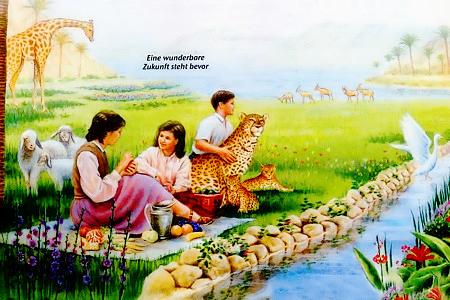 Ausgesprochen kitschige Illustration aus einem Wachtturm der Zeugen Jehovas -- Eine wunderbare Zukunft steht bevor