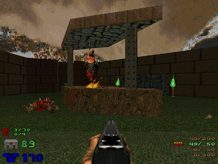 Screenshot aus Doom, TNT Evilution, Level 2, Human BBQ
