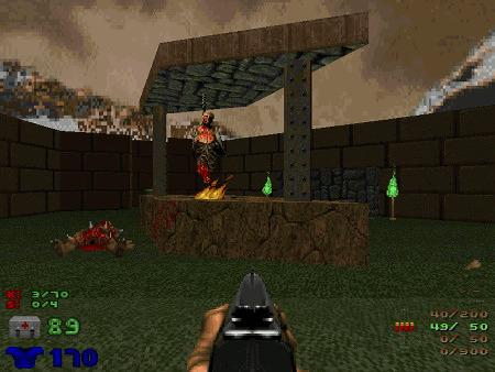 Screenshot aus Doom, TNT Evilution, Level 2, Human BBQ
