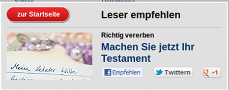 Screenshot -- Leser empfehlen: Richtig vererben. Machen Sie jetzt Ihr Testament
