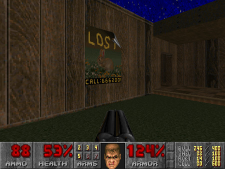 Screenshot aus dem DooM-PWAD 'Revolution!' von Thomas van der Velden. An einer Wand hängt ein Plakat mit dem Hasen von Doomguy, Daisy. Darüber steht der Text 'Lost', darunter die Telefonnummer '6662001'.