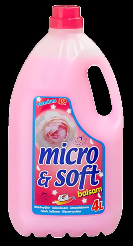 Eine Weichspüler-Flasche der Marke 'micro & soft'
