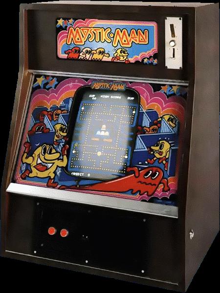 Altes Wandvideospiel eines Pac-Man-Klons mit dem Namen 'Mystic Man'