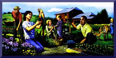 Extrem kitschige Illustration aus einem Wachtturm der Zeugen Jehovas mit einem spießbürgerlichen Idyll des Paradieses