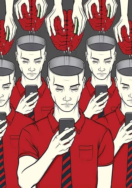 Zeichnung mit Menschen, in Formation aufgestellt, gleichgültig-leerer Gesichtsausdruck. Die Augen auf das Smartphone gerichtet. Die Schäde sind geöffnet. Hände entnehmen die Gehirne.