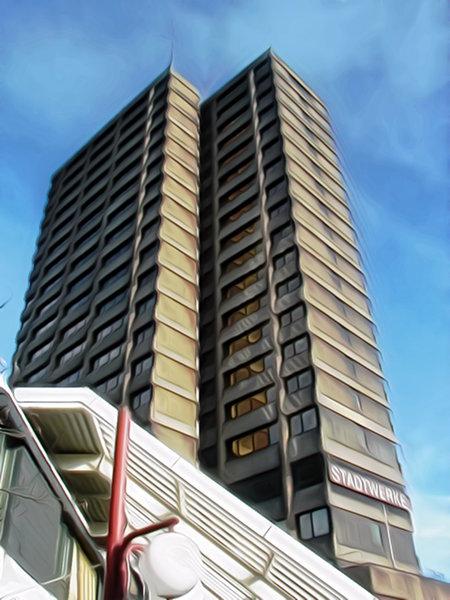 Stark nachbearbeitetes, traumhaft anmutendes (nicht jeder Traum ist schön) Foto des Stadtwerke-Gebäudes im Ihmezentrum, Hannover