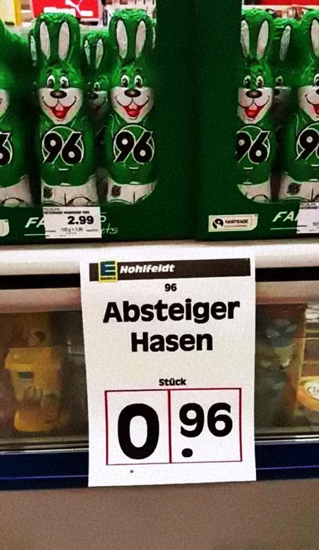 Osterhasen mit Hannover-96-Aufdruck, darunter ein gefaktes Preisschild »Absteiger-Hasen 0,96 €