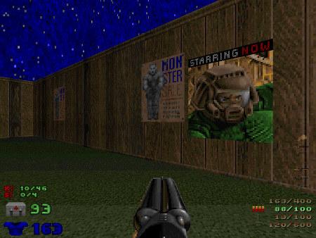 Screenshot Doom, Revolution! -- An der Wand hängt ein Plakat mit einem gefesselten Zombie, dazu der Text 'MONSTER SALE'.