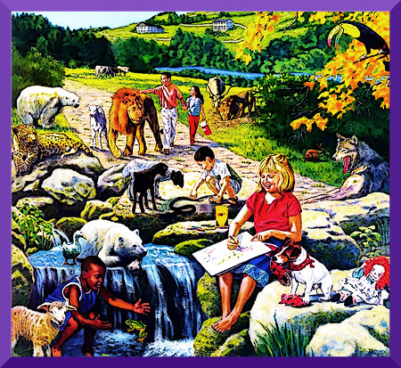 Extrem kitschige Illustration des Lebens in der Neuen Welt aus einem Buch der Zeugen Jehovas