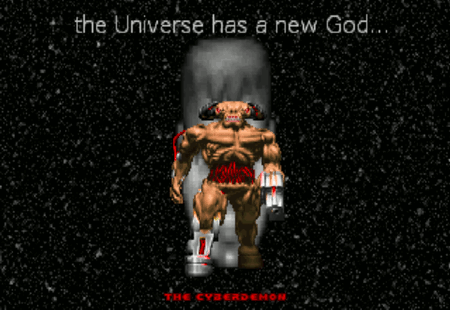 Schlussbild des Doom-PWADs 'Revolution!' mit dem Text 'The Universe has a new God', darunter der Cyberdemon