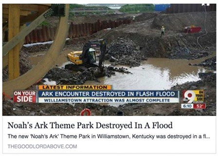 Noah's Ark Theme Park Destroyed In A Flood -- The new »Noah's Ark« Theme Park in Williamstown, Kentucky was destroyed in a flood.