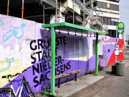 Graffito am Ihmezentrum: Grünste Stadt Niedersachsens