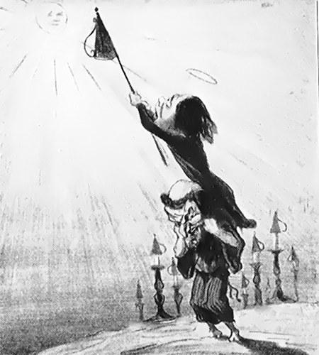 Zeichnung eines Menschen, der einem anderen Menschen auf den Schultern steht und versucht, mit einem Netz die Sonne einzufangen.