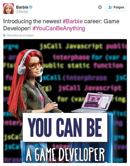 Tweet von @Barbie: Introducing the newest #Barbie career: Game Developer! #YouCanBeAnything