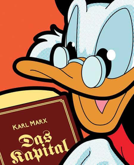 Zeichnung: Dagobert Duck liest das Kapital von Karl Marx