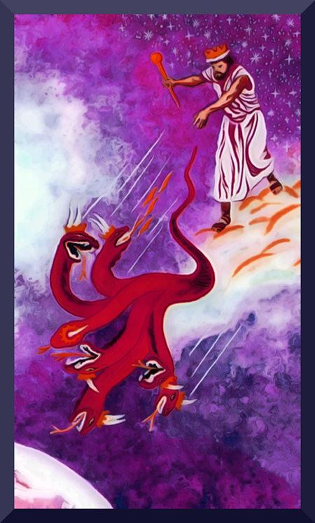 Stark nachbearbeitete, absurde Illustration aus der Literatur der Zeugen Jehovas, die einen gekrönten König gegen einen Drachen im Weltraum kämpfend zeigt.