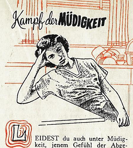 Illustration aus einem alten Wachtturm der Zeugen Jehovas. Zeichnung einer ermattet am Tisch sitzenden Hausfrau. Dazu der Text 'Kampf der MÜDIGKEIT -- Leidest du auch unter Müdigkeit, jenem Gefühl der Abge...'.