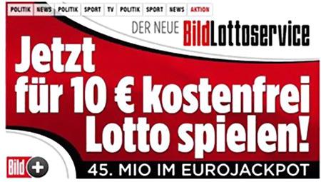 Der neue BildLottoservice -- Jetzt für 10€ kostenfrei Lotto spielen! 45. Mio im Eurojackpot