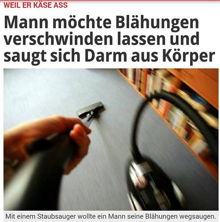Schlagzeile Express.de -- Weil er Käse aß: Mann möchte Blähungen verschwinden lassen und saugt sich Darm aus Körper -- Symbolbild eines Staubsaugers -- Mit einem Staubsauger wollte ein Mann seine Blähungen wegsaugen