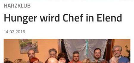 Harzklub: Hunger wird Chef in Elend