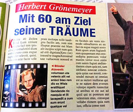 Artikel in 'Das goldene Blatt', der mit den Worten 'Herbert Grönemeyer: Mit 60 am Ziel seiner Träume' überschrieben ist und nur aus Blindtext besteht
