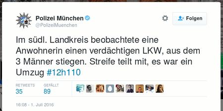 Tweet von @PolizeiMuenchen: Im südl. Landkreis beobachtete eine Anwohnerin einen verdächtigen LKW, aus dem 3 Männer stiegen. Streife teilt mir, es war ein Umzug #12h110