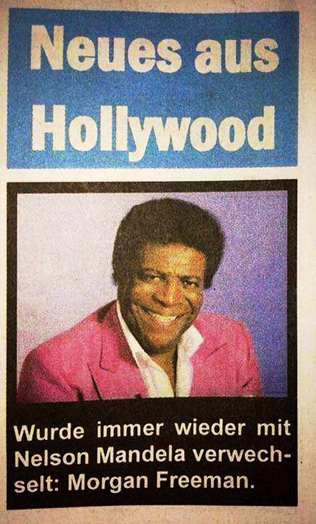 Detail aus einer Zeitschrift -- Überschrift: Neues aus Hollywood -- Darunter ein Foto von Roberto Blanco -- Unter dem Foto der Text: 'Wurde immer wieder mit Nelson Mandela verwechselt: Morgan Freeman.'
