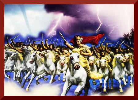 Darstellung aus dem 'Offenbarungsbuch' der Zeugen Jehovas: Ein berittenes Heer, das durch Blize und Tornados mit erhobenen Schwertern in den Lüften reitet, angeführt vom gekrönten König Jesus