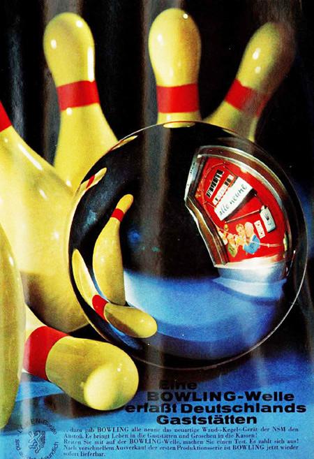 Werbung für das Spielgerät NSM Alle Neune aus dem Jahr 1967: Eine Bowling-Welle erfaßt Deutschlands Gaststätten