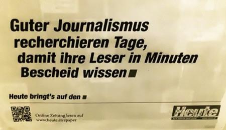 Guter Journalismus recherchieren Tage, damit ihre Leser in Minuten Bescheid wissen. -- Heute bringt's auf den Punkt. -- Online Zeitung lesen auf www.heute.at/epaper