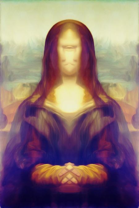 Die Mona Lisa mit einer Spiegelung überlagert und stark nachbearbeitet.