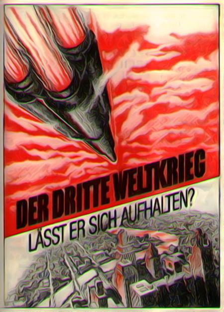 Stark nachbearbeiteter Scan eines religiösen Traktates aus den Siebziger Jahren: Der Dritte Weltkrieg -- Lässt er sich aufhalten?