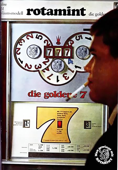 Werbung für das NSM-Geldspielgerät 'Die Goldene Sieben' aus dem Jahr 1967 -- ja, damals hat man in Kneipen noch geraucht, und ein Gewinn von sieben Deutsche Mark war recht viel Geld