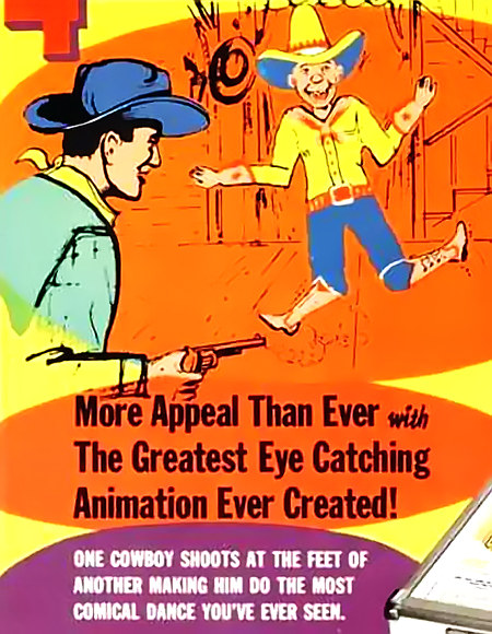 Detail aus einer Werbung für den Gottlieb-Flipper 'Dodge City' aus dem Jahr 1965: 'More Appeal Than Ever With The Greatest Eye Catching Animation Ever Created! One cowboy shoots at the feet of another making him do the most comical dance you've ever seen.