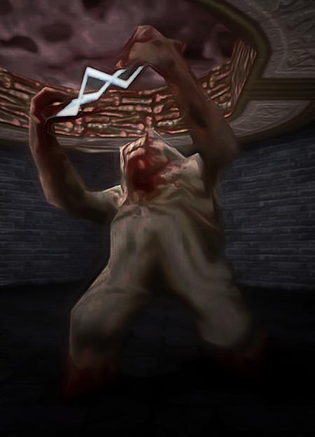 Ein Shambler aus Quake 1, der seinen elektrischen Angriff vorbereitet