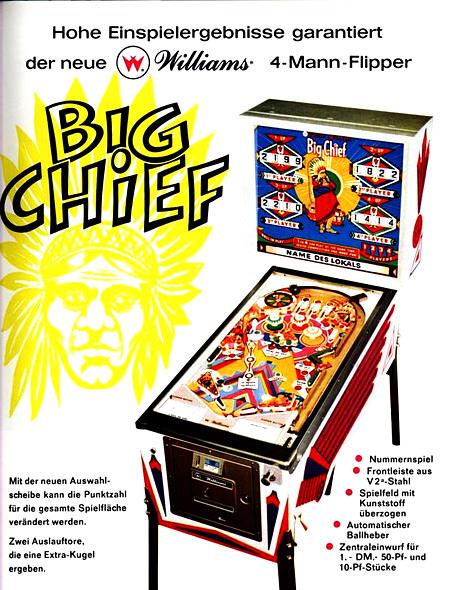 Werbung für den Williams-Flipper 'Big Chief' aus dem Jahr 1965 -- Hohe Einspielergebnisse garantiert der neue Williams-4-Mann-Flipper 'Big Chief'