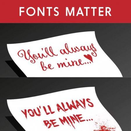 Sehr schwierig zu beschreibendes Bild. Zwei Briefe mit dem Inhalt 'You'll always be mine' in rotem Text, nur in verschiedenen Schriftarten. Ich nehme an, die meisten Menschen würden davon nur den ersten Brief gerne bekommen...