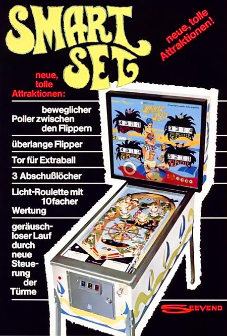 Werbung für den Williams-Flipper 'Smart Set' aus dem Jahr 1969 -- Smart Set -- neue, tolle Attraktionen! -- beweglicher Poller zwischen den Flippern -- überlange Flipper -- Tor für Extraball -- 3 Abschußlöcher -- Licht-Roulette mit 10facher Wertung -- geräuschloser Lauf durch neue Steuerung der Türme