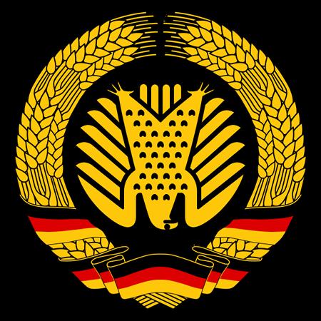 Der Ährenkranz aus dem DDR-Staatswappen, in dem an Stelle von Hammer und Zirkel ein auf dem Kopf stehender Bundesadler (die 'fette Henne' aus dem Plenarsaal) abgebildet ist