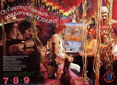 Werbung für das NSM-Geldspielgerät Rotamint 7&8&9 aus dem Jahr 1973 -- Ob Fasching, Fastnacht oder Karneval, ROTAMINT ist überall -- Man gewinnt mit ROTAMINT