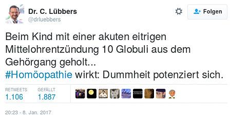 Tweet von @drluebbers: Beim Kind mit einer akuten eitrigen Mittelohrentzündung 10 Globuli aus dem Gehörgang geholt... #Homöopathie wirkt: Dummheit potenziert sich.