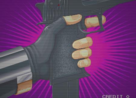 Screenshot Elevator Action 2, Taito, 1995: Vor einem pinkfarbenen Hintergrund wird das Magazin in eine Pistole eingeführt