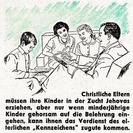 Christliche Eltern müssen ihre Kinder in der Zucht Jehovas erziehen, aber nur wenn minderjährige Kinder gehorsam auf die Belehrung eingehen, kann ihnen das Verdienst des elterlichen 'Kennzeichens' zugute kommen.