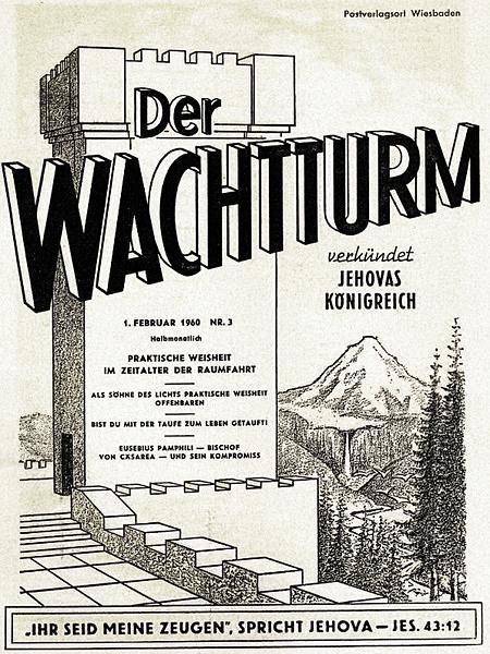 Titelseite des Wachtturms der Zeugen Jehovas vom 1. Februar 1960 mit dem Artikel 'Praktische Weisheit im Zeitalter der Raumfahrt'.