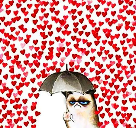Zeichnung einer missgestimmten Katze, die einen Regenschirm aufspannt, um nicht von den massenhaft herunterregnenden Herzchen getroffen zu werden
