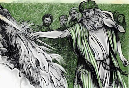 Darstellung aus einer Publikation der Zeugen Jehovas aus den Fünfziger Jahren. Mose schlägt Wasser aus dem Felsen.