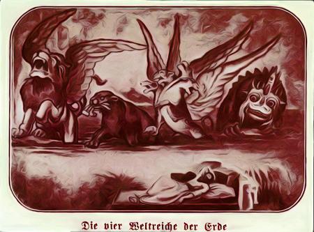Unbeschreibliche Illustration aus einer Publikation der Zeugen Jehovas aus den fünfziger Jahren mit der Bildunterschrift 'Die vier Weltreiche der Erde'.