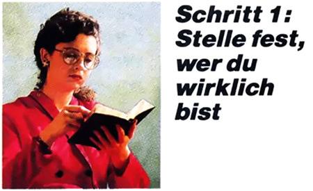 Foto einer Frau, die mit ernstem Gesicht in der Bibel liest. Daneben der Text: 'Schritt 1: Stelle fest, wer du wirklich bist'.